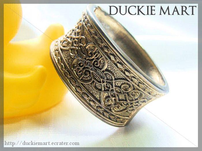 Vintage Parisian Antique Brass Engraved Cuff