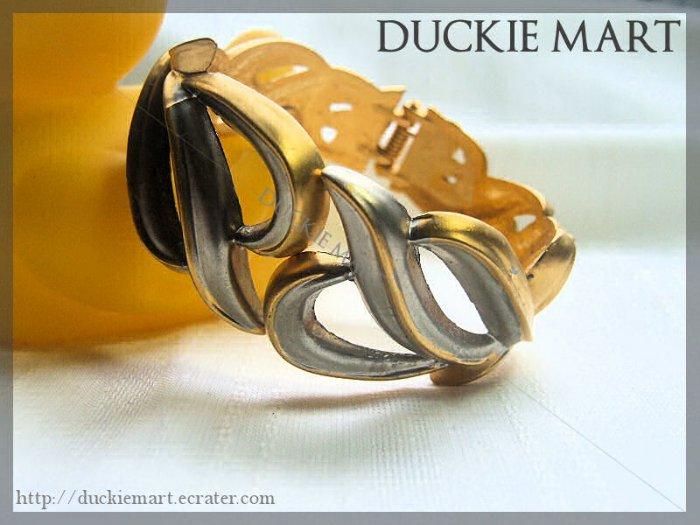 Vintage Parisian Art Deco Gold n Silver Cuff