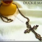 BRAND NEW Gothic Bronze Crystal and Rhinestone Cross Necklace