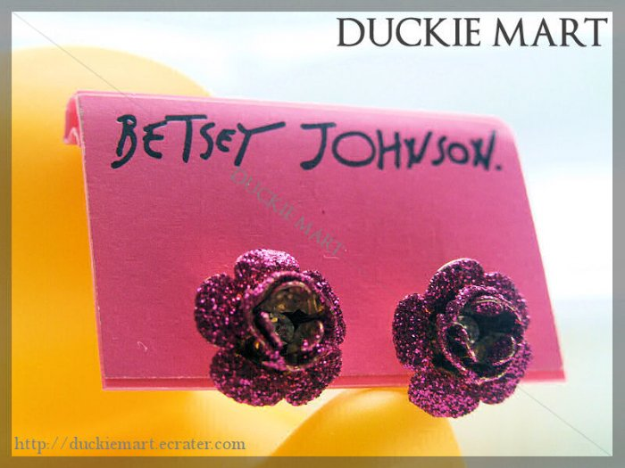 BRAND NEW Betsey Johnson Glittering Fushia Rose Stud with Crystal Centre