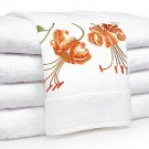 100%Egyptian cotton Towel set with Tiger Lily embroidery