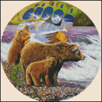 BEARS AT THE STREAM cross stitch pattern
