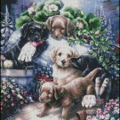 GARDENING PUPPIES cross stitch pattern