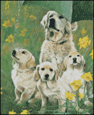Dogs FAMILY cross stitch pattern