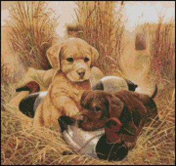 LAB PUPPIES cross stitch pattern