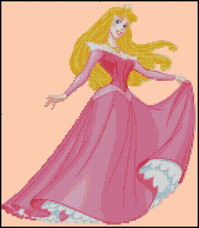 PRINCESS AURORA cross stitch pattern