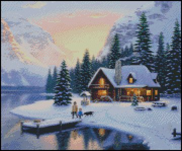 WINTER COTTAGE cross stitch pattern