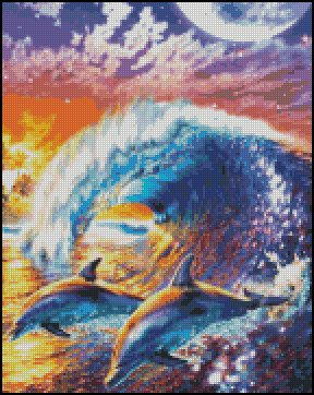 DOLPHINS 1 cross stitch pattern