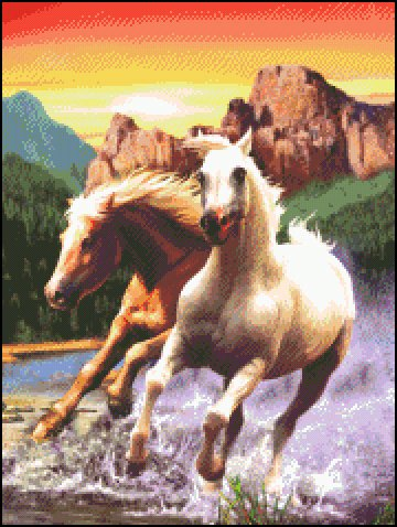 HORSES cross stitch pattern