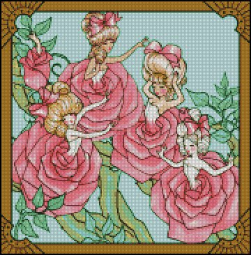 GARDEN LADIES cross stitch patterns