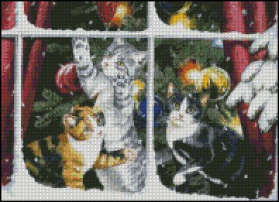 CHRISTMAS CATS cross stitch pattern