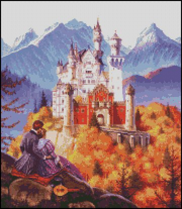 Castle NEUSCHWANSTEIN IN BAVARIA cross stitch pattern