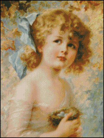 GIRL HOLDING A NEST cross stitch pattern