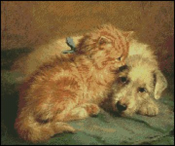 KITTEN AND PUPPY cross stitch pattern