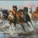 Horses RUN cross stitch pattern