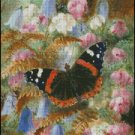 FLOWERS AND BUTTERFLY cross stitch pattern
