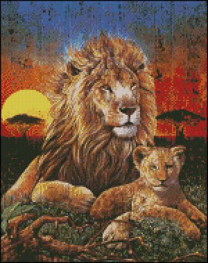 LION SUNSET cross stitch pattern