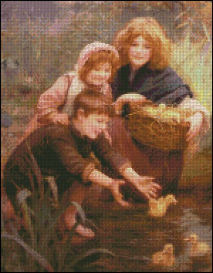 Elsley Arthur LEARNING TO SWIM cross stitch pattern