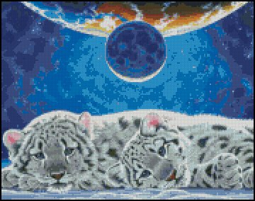 WHITE TIGERS cross stitch pattern