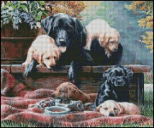 Dogs FAMILY TIME cross stitch pattern
