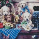 PUPPIES IN GARDEN cross stitch pattern