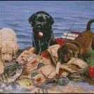 Puppies FISHERMEN cross stitch pattern
