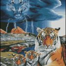 Fantasy TIGERS cross stitch pattern