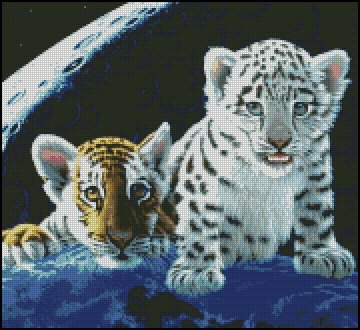 TIGER AND LEOPARD CUBS cross stitch pattern