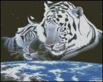 WHITE TIGERS 1 cross stitch pattern
