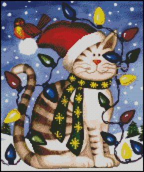 CHRISMAS CAT cross stitch pattern