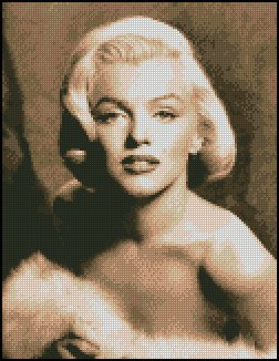 MARILYN MONROE #4 sepia cross stitch pattern