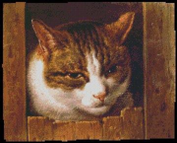 A CAT PEEPING THROUGH A FENCE cross stitch pattern