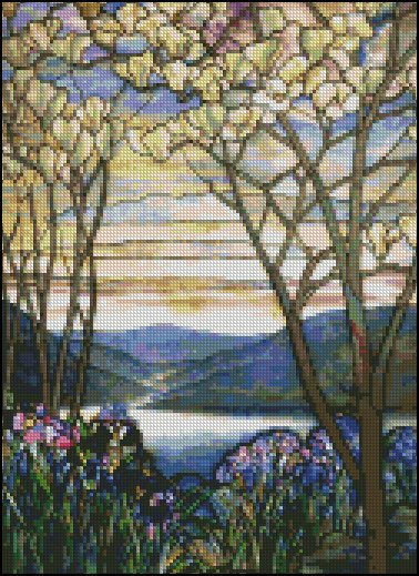 MAGNOLIAS AND IRISES cross stitch patterns
