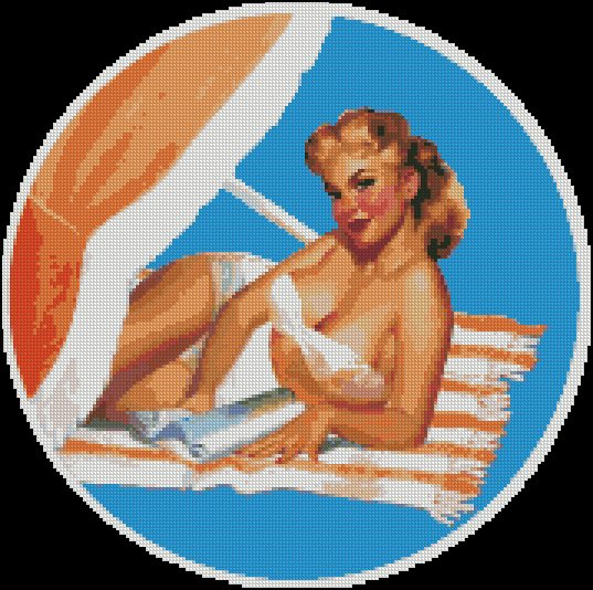 Vintage, Pin Up VERSILIA BEACH cross stitch pattern