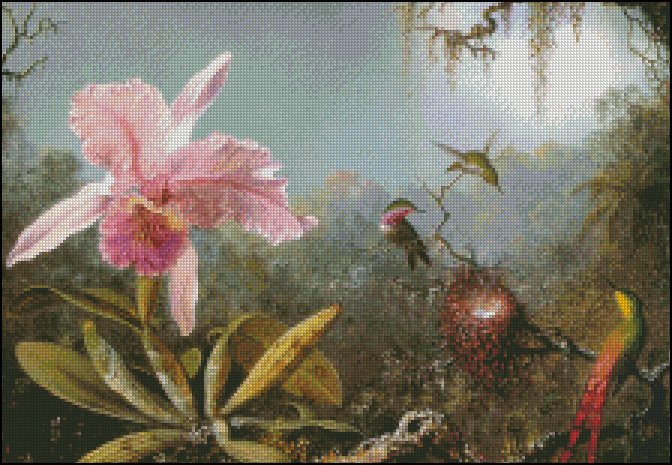 CATTLEYA ORCHID AND THREE BRAZILIAN HUMMINGBIRDS cross stitch pattern