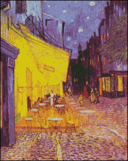 Vincent Van Gogh CAFE TERRACE AT NIGHT cross stitch pattern