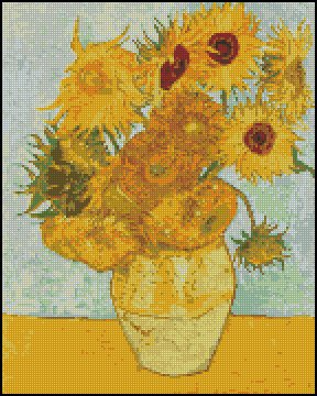 Vincent Van Gogh SUNFLOWERS cross stitch pattern