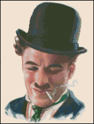 CHARLIE CHAPLIN cross stitch pattern