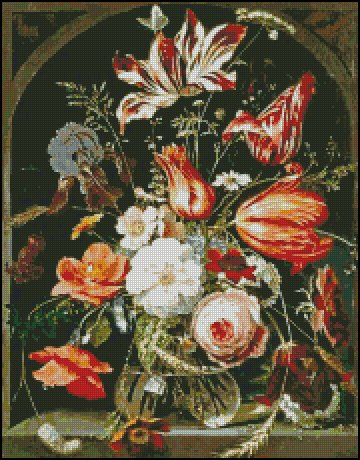 A STILL LIFE OF FLOWERS IN A GLASS BOWL pattern