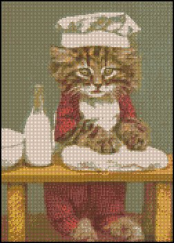 Vintage BAKER KITTY cross stitch pattern