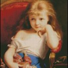YOUNG GIRL HOLDING A DOLL cross stitch pattern