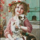 Emile Vernon GIRL WITH PUPPY cross stitch pattern