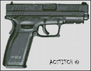 GUN cross stitch pattern
