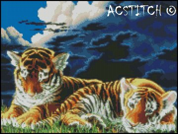 TIGER CUBS cross stitch pattern