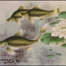 THREE FISH IN LILIES cross stitch pattern