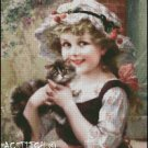 LITTLE GIRL WITH KITTY cross stitch pattern