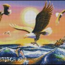 EAGLES AT SUNSET cross stitch pattern