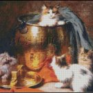 CATS WITH POT cross stitch pattern