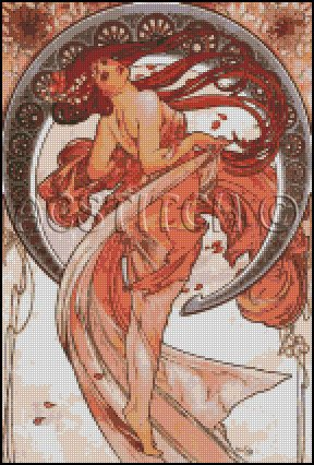 Alphonse Mucha DANCE cross stitch pattern