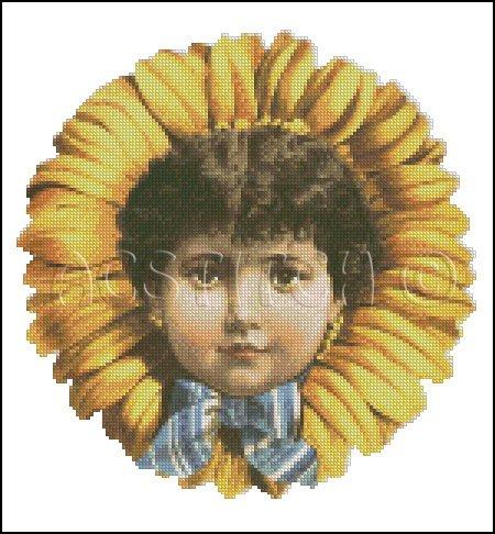 VINTAGE CHILD FLOWER cross stitch pattern